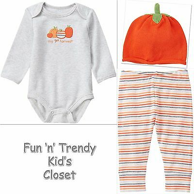 GYMBOREE HAPPY HARVEST PUMPKIN STACKED N STRIPE 2-PC SET 6 12 18 24 NWT