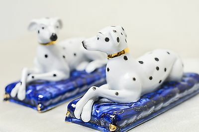 Pair of Estate Found Vintage Porcelain Dalmatian Dogs on Blue Cushion Statues