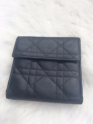 Dior Wallet Christian Leather Authentic Cannage Quilted Black Bifold Vintage