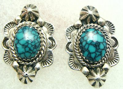 Vintage Navajo 925 Sterling Silver Indian Mountain Turquoise Stud Earrings