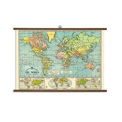 FREE 2 DAY SHIPPING: Cavallini Papers World Map Vintage School Chart (Kitchen)