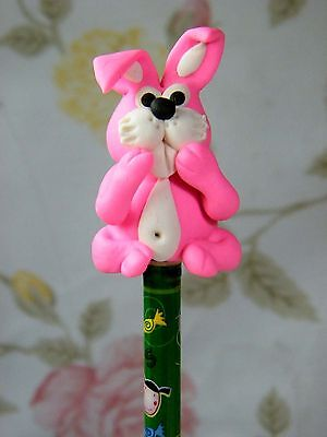 Polymer Clay Lovely Rabbit Figurine Act On Top Of Wooden Pencil No.01