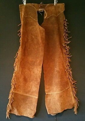 Suede Motorcycle Chaps w Western Fringe & Heavy Zippers Size Med to Large VGOOD