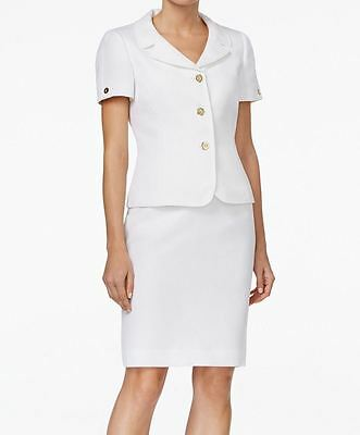 Tahari By ASL NEW White Womens 18 Textured Three-Button Skirt Suit Set $280 095