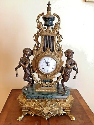 Authentic Vintage Imperial Italian Mantel Clock Verde Marble & Bronze Brass Made