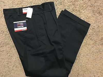 NWT IZOD American Chino Classic-Fit Khaki Double Pleat Pant Navy 30X32 MSRP$50