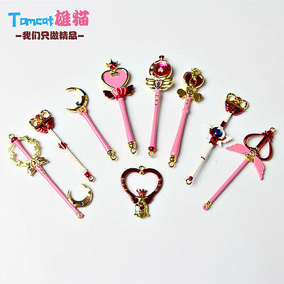 9PCS Card Captor Sakura Sailor Moon Magic Wand Pendant Cosplay Anime Necklace