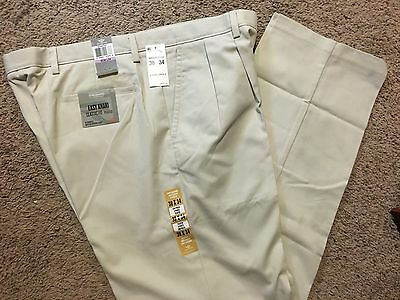 NWT DOCKERS D3 Classic Fit Easy Khaki Pants Pleated Front Marble 36X30 MSRP $50