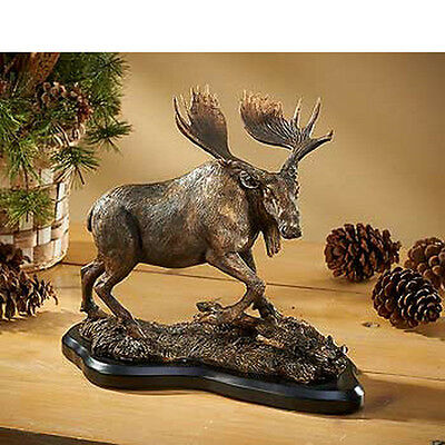 Backwater Bull Moose Sculpture Cold Cast Hand Applied Patinas Metallic Paints
