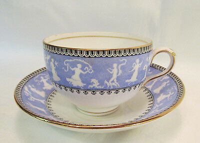 Crown Staffordshire Antique Cup & Saucer Blue White Sillouette Figures