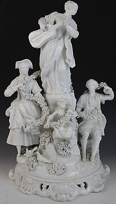 Antique Meissen Bisque Porcelain Figural Floral Garland Man Woman Guitar Statue