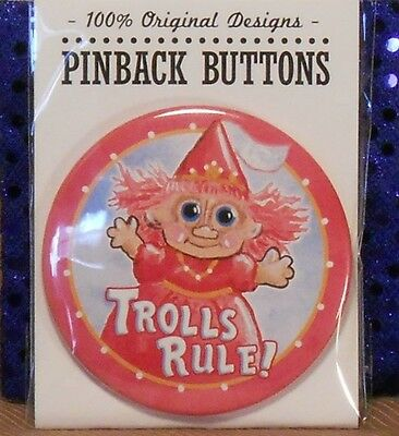 "3"" metal lapel pin says ""Trolls Rule"": TROLL DOLL pink princess"