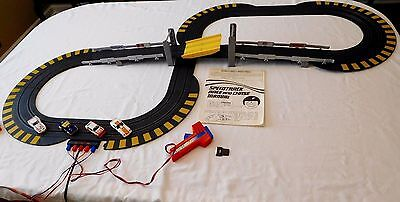 LESNEY MATCHBOX SPEEDTRACK RACE AND CHASE SLOT CAR SET w FOUR VEHICLES