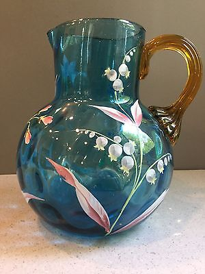Antique Vtg Hand Blown Painted Enameled Blue Art Glass Pitcher 6.5""