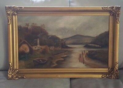 Antique Oil Painting Of An Old Cottage By The River In Canvas With Gilded Frame