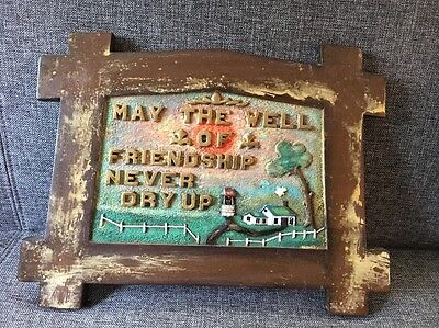 Antique 1914 Folk Art Hand Carved Wall Plaque- Well Of Friendship F.A.A.
