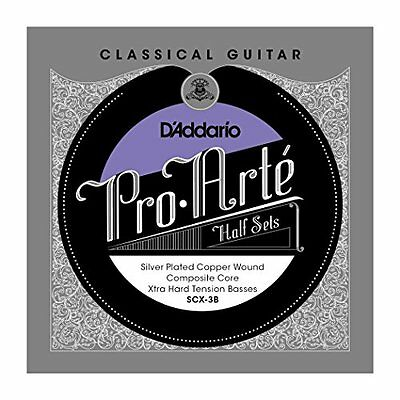 D'Addario Silver Copper on Composite Core Classical Guitar Half Set, Extra Hard