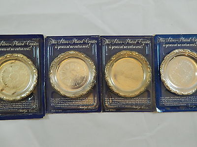 Readers Digest 1988 Silver-Plated Coaster Lot of 4 All NIB Made in Italy Vintage