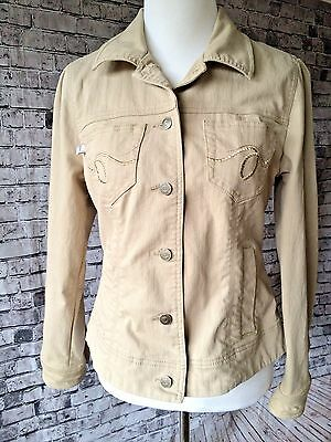 Duplex Womens Jacket Coat Size M Long Sleeve Button Front Tan Beige Stretch