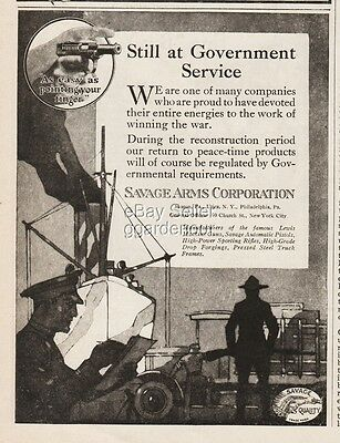 1918 Savage Arms Handgun Halt Public Production War Time Effort WWI Soldiers Ad