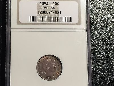 1893 Barber Dime NGC MS64!  Outstanding coin! Make an Offer!