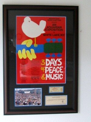 Framed Original Woodstock Poster, 1 Day Ticket, & Photo, with 2 Certificates