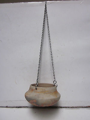 Vintage Native American Nemadji Pottery Hanging Flower Pot W/chain