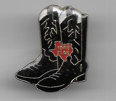 Vintage Pair Black Cowboy Boots with Lone Star Texas Logo old enamel pin