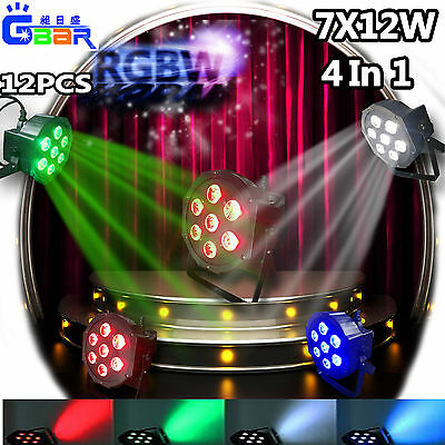 12PCS 5D 7X12W LED 4IN1 RGBW Par PAR64 Wash Light DMX 512 70W CAN Flat KTV Stage