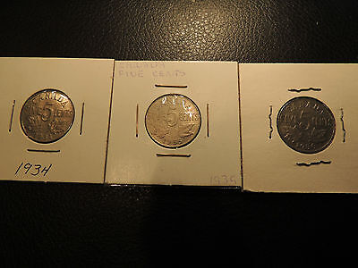 1934 1935 1936 Canada .05 Five Cents Nickel George V Lot Of 3 Coins