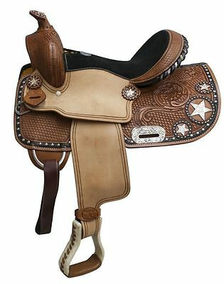 "13"" Double T Fully tooled Double T Youth Pony Show Saddle 512813"