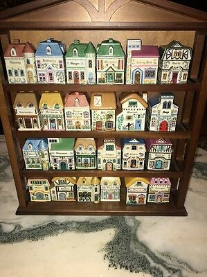 1989 Lenox The Lenox Village Spice Jars Full Set with Wooden Rack