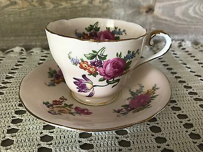 Vintage Aynsley Bone China England Tea Cup and Saucer Pink