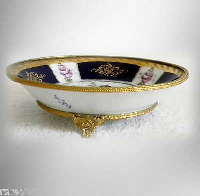 Sevres style porcelain cobalt blue and floral decorated bowl - FREE SHIPPING