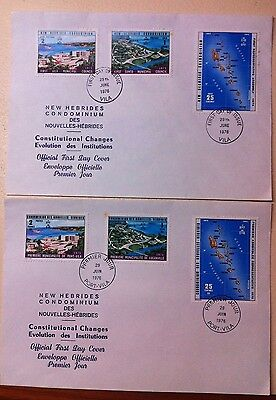 New Hebrides First Day Issue FDC Constitutional Changes1976 pair French+English