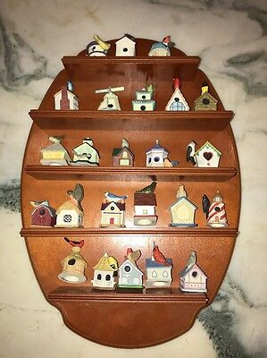 Lenox Miniature Garden Birdhouse Collection Complete Set 24 with Wooden Rack
