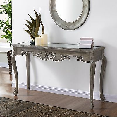 """""""Kailey"""" Collection Mirrored Top Console Table in Weathered Grey"""