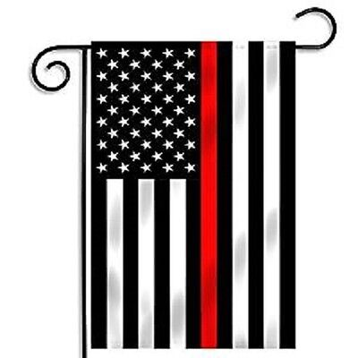 12x18 USA Thin Red Line Fire Department Flag 12'x18' sleeved sleeve garden pole
