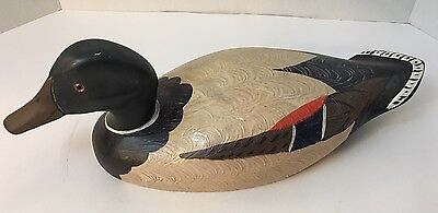 Antique Hand carved & Painted Wood Duck Glass eyed Folk Art