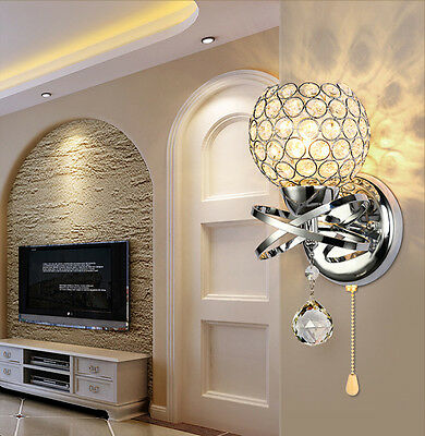 Modern Crystal LED Wall Light Lamp Sconce Fitting Bedroom Dining Room W/ Swicth