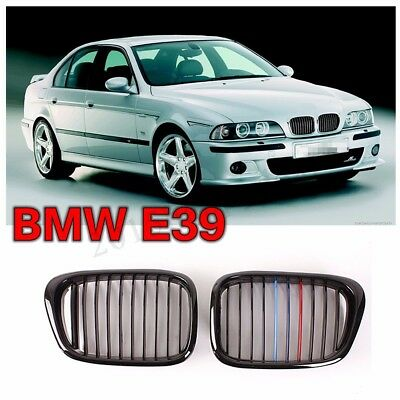 Gloss Black M-Color Front Kidney Grille Grill For BMW E39 5 Series M5 1997-2003