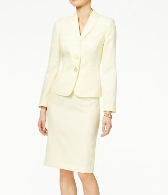 Le Suit NEW Light Yellow Womens Size 18 Three Button Skirt Suit Set $200 100