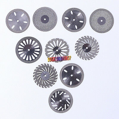 10*Mixed Dental Diamond Polishing Wheel Saw Disc Cutter Rotary Tool Double Side
