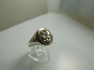 9k yellow gold and sterling silver dragon ring