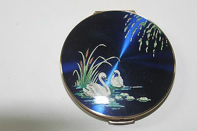 2 Vtg, STRATTON POWDER COMPACT COLBALT BLUE ENAMEL SWANS COLLECTABLE MAPLE LEAF