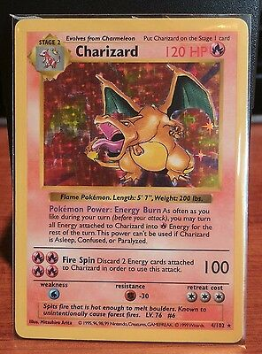 Pokemon - Base Set - HOLO FOIL, SHADOWLESS Charizard, 4/102 (MP)