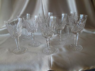 "8 Waterford Stemmed Wine Glasses ""lismore"" Design"