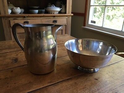 antique silver plated pitcher and bowl