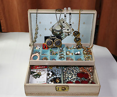 Vintage Jewelry Lot Jewelry Box with Many Necklaces Earrings Pin/Brooch, Rings