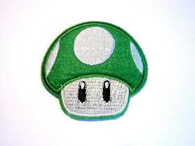 1x Super Mario Mushroom Patch Embroidered Cloth Applique Badge Iron Sew On